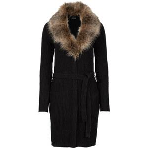 BODYFLIRT Veste en maille avec col en imitation fourrure amovible noir manches longues femme - bonprix