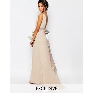 TFNC WEDDING - Robe longue avec nœud en satin dans le dos - Rose