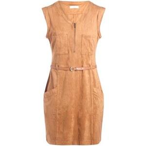 Robe suédine ceinture Marron Elasthanne - Femme Taille 36 - Cache Cache