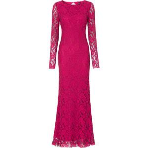 BODYFLIRT boutique Langes Spitzenkleid langarm in pink von bonprix