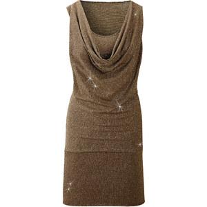 BODYFLIRT Kleid ohne Ärmel in braun (Wasserfall-Ausschnitt) von bonprix