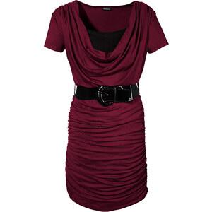 BODYFLIRT Shirtkleid/Sommerkleid kurzer Arm in rot (Wasserfall-Ausschnitt) von bonprix