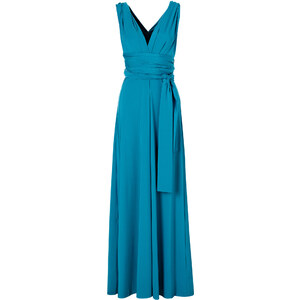 BODYFLIRT boutique Kleid ohne Ärmel in blau (V-Ausschnitt) von bonprix