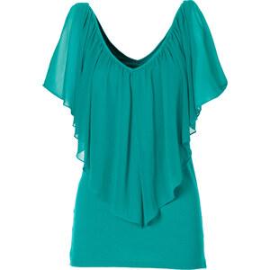 BODYFLIRT boutique T-Shirt kurzer Arm in grün für Damen von bonprix