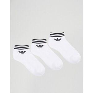adidas Originals - Lot de 3 paires de socquettes avec logo trèfle - Blanc - Blanc