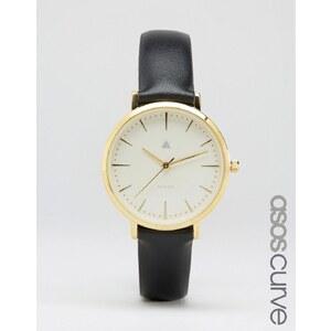 ASOS CURVE - Montre avec bracelet en cuir et cadran épuré - Noir - Noir