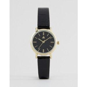ASOS - Montre avec bracelet fin épuré - Noir verni - Noir
