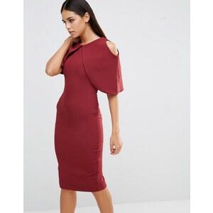 Vesper - Robe fourreau à mancherons - Rouge