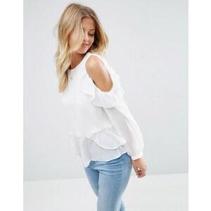 ASOS - Blouse avec épaules dénudées volantées - Blanc