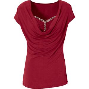 BODYFLIRT Shirt mit Wasserfallausschnitt in rot für Damen von bonprix