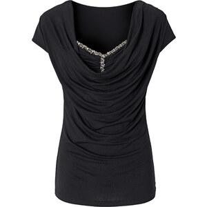 BODYFLIRT Shirt mit Wasserfallausschnitt in schwarz für Damen von bonprix