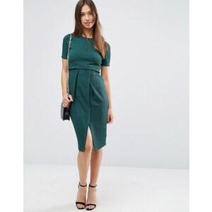 ASOS - Robe fourreau texturée double épaisseur - Vert
