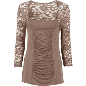 BODYFLIRT Shirt 3/4 Arm in braun für Damen von bonprix