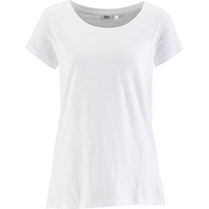 bpc bonprix collection Flammgarn-Shirt, Kurzarm in weiß für Damen von bonprix