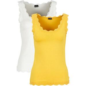BODYFLIRT Top mit Spitze 2er-Pack ohne Ärmel in gelb für Damen von bonprix