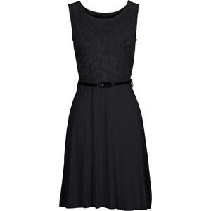 BODYFLIRT Shirtkleid mit Spitze ohne Ärmel in schwarz von bonprix