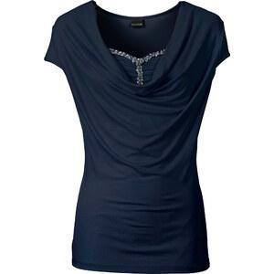 BODYFLIRT Shirt mit Wasserfallausschnitt in blau für Damen von bonprix