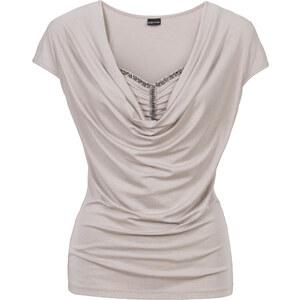 BODYFLIRT Shirt mit Wasserfallausschnitt in grau für Damen von bonprix