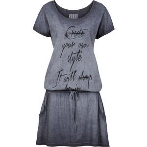 RAINBOW Shirtkleid/Sommerkleid kurzer Arm in grau (Rundhals) von bonprix