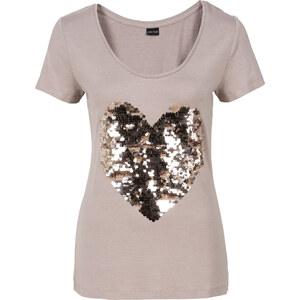 BODYFLIRT Shirt mit Herz aus Pailletten in grau für Damen von bonprix