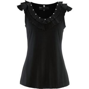 bpc selection Shirttop mit Ziersteinen in schwarz für Damen von bonprix