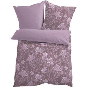 bpc living Bettwäsche Blume, Jersey in lila von bonprix