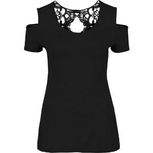 BODYFLIRT boutique Shirt mit Häkeleinsatz in schwarz für Damen von bonprix