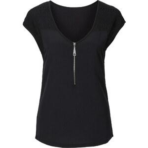 BODYFLIRT Shirt mit Spitzeneinsatz kurzer Arm in schwarz für Damen von bonprix