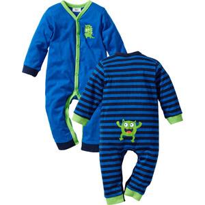 bpc bonprix collection Baby Langarm-Overall (2er-Pack) Bio-Baumwolle in blau von bonprix