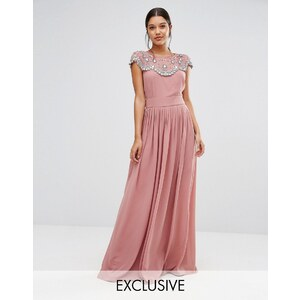TFNC WEDDING - Robe longue ornementée - Rose