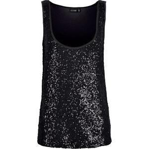 BODYFLIRT Pailletten-Top in schwarz für Damen von bonprix