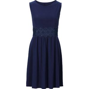 BODYFLIRT Kleid mit Spitzeneinsatz ohne Ärmel in blau von bonprix