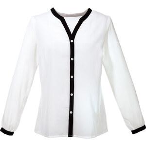 BODYFLIRT Bluse langarm in weiß von bonprix