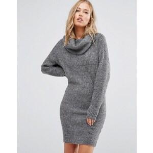 Vila - Figurbetontes Pulloverkleid mit Rollkragen - Grau