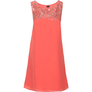BODYFLIRT Kleid mit Paillettenapplikation ohne Ärmel in rot von bonprix