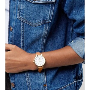 New Look Uhr mit schmalem Armband aus Lederimitat in Hellbraun