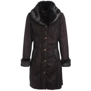 Manteau long en peau retournée Noir Acrylique - Femme Taille 38 - Bréal