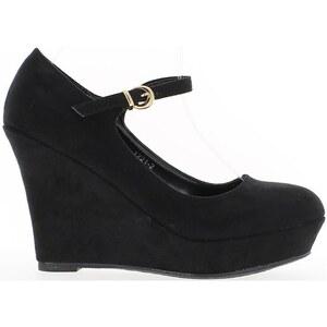 Chaussmoi Chaussures escarpins Compensées noires à talon de 10,5cm aspect daim avec plateau