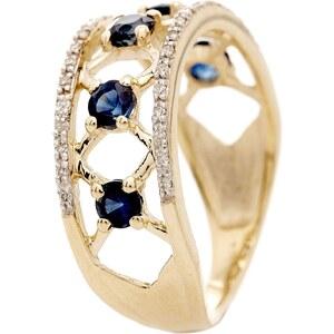Paris Vendôme Lady Blue - Bague en or jaune avec diamants 0.112 ct et saphirs