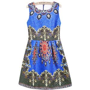 SheInside Blue Round Neck Sleeveless Vintage Floral Dress
