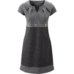 BODYFLIRT Kleid/Sommerkleid kurzer Arm figurbetont in grau von bonprix