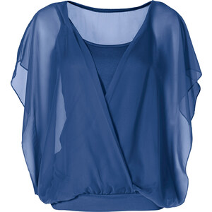 BODYFLIRT Shirtbluse kurzer Arm in blau für Damen von bonprix