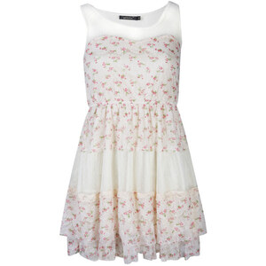 Nova Women's Lace and Distsy Floral Festival Dress - Ivory