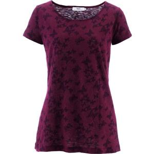 bpc bonprix collection Flammgarn-Shirt, Halbarm in lila für Damen von bonprix