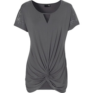BODYFLIRT Shirt kurzer Arm figurumspielend in grau (Rundhals) für Damen von bonprix