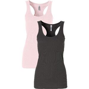 RAINBOW 2er-Pack Ripp-Tanktop ohne Ärmel in rosa für Damen von bonprix