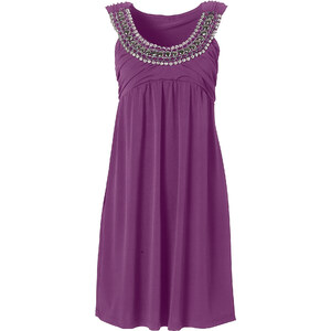 BODYFLIRT Shirtkleid ohne Ärmel figurbetont in lila (Rundhals) von bonprix