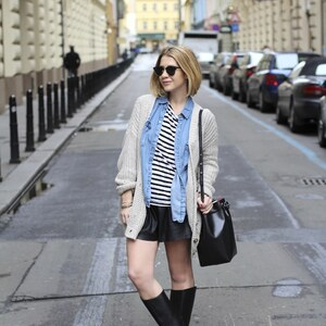Look de Denim, leather and stripes à Glami €