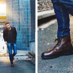 Look de Veste bleue et boots à Le male rasé €