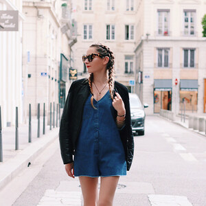 Look de DENIM PLAYSUIT à heelsongasoline €